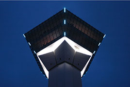 Exterior LED strip lights of the observation deck