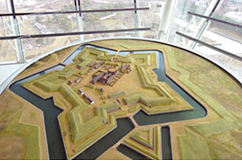 Reconstructed model of Goryokaku (1/250)