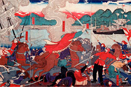 This block print depicts the Battle of Hakodate.
