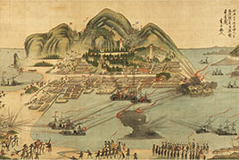 This drawing depicts the battle of battleships at Hakodate Port.
