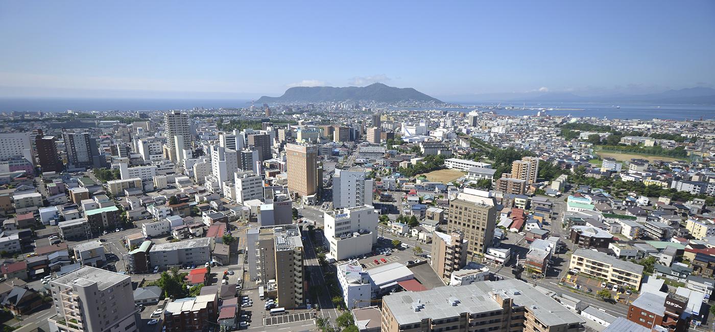 展望台から見た函館市街と函館山